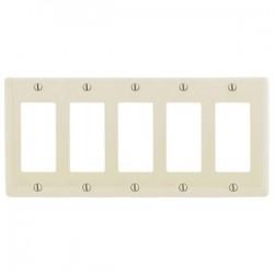 Hubbell - NP265LA - Hubbell-Wiring Kellems NP265LA Decora Wallplate, 5-Gang, Nylon, Light Almond, Standard Size