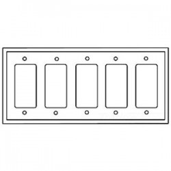 Cooper Wiring Devices - 2165W-BOX - Cooper Wiring Devices 2165W-BOX Decora Wallplate, 5-Gang, Themoset, White