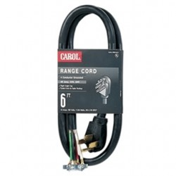 General Cable - 00606.63.01 - General Cable 00606.63.01 Range Cord, 4-Wire, 50A, 250V, 6' Long, Black