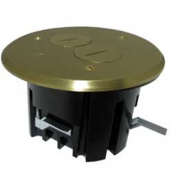 Allied Moulded - FB-3 - Allied Moulded FB-3 Floor Box Assembly, Includes Duplex Receptacle, Brass Floor Plate