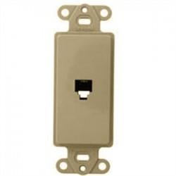 Leviton - 40649-T - Leviton 40649-T Wallplate Insert, Decora, Telephone Jack, 6P4C, Flush, Light Almond