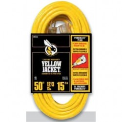 BizLine - 50FT123YLJKT - Bizline 50FT123YLJKT Contractor Extension Cord, 15A, 125V, 50', Yellow