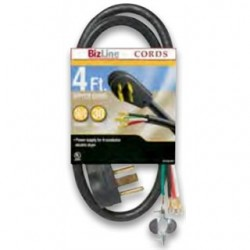 BizLine - RG6282BL504 - Bizline RG6282BL504 Range Cord, Type SRDT, Black, 4' Long