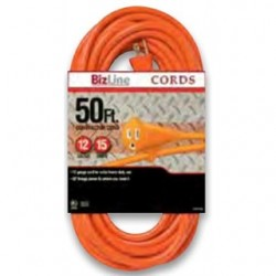 BizLine - 50FT123OR - Bizline 50FT123OR Extension Cord, Outdoor - Round, 12/3, 50', Orange