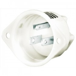 Hubbell - 5278 - Hubbell-Bryant 5278 Flg-inlet, 15a 125v, 5-15p, Wh