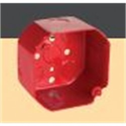 Hubbell - 911-5 - Hubbell-Raco 911-5 4 Octagon Box, Red, Steel, 2-1/8 Deep
