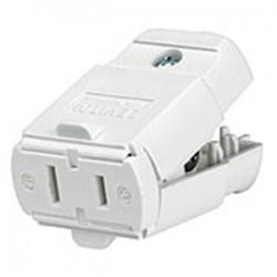 Leviton - 102-WP - Leviton 102-WP 15 Amp Polarized Light Duty Connector, 125V, 1-15R, White