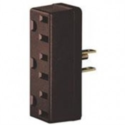 Leviton - 697 - Leviton 697 15 Amp NEMA 5-15, 3-Outlet Adapter, Brown