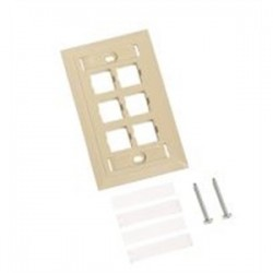 CommScope - 108168592 - Commscope 108168592 Module Faceplate, 6-Port, 1-Gang, Ivory, L-Type, Vertical