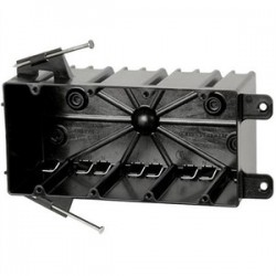 Allied Moulded - P-764QT - Allied Moulded P-764QT Switch/Outlet Box with Bracket, Depth: 3-1/4, 4-Gang, Non-Metallic