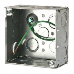 Appleton Electric - 4SD-EKP - Appleton 4SD-EKP 4 Square Box, Welded, Metallic, 2-1/8 Deep, Green ground Wire