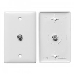 Hubbell - NS751W - NetSelect Molded-In Plate for Voice & CATV/Satellite, 1 Gang, Mid-Size, 1 F-Type Coupler Bulkhead, F/F, White