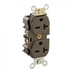 Leviton - 5462 - Leviton 5462 20 Amp, 250 Volt, Narrow Body NEMA 6-20R, Brown