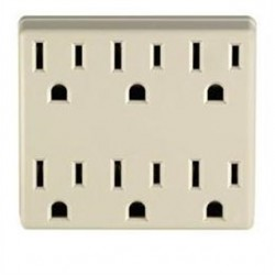 Leviton - 6ADPT-W - Leviton 6ADPT-W 6-Outlet Adapter, Grounding, 15A, 125V, White