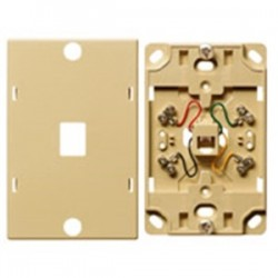 Hubbell - NS722W - Hubbell-Premise NS722W Telephone Wall Jack, 6P4C, 1-Gang, Standard Size, White