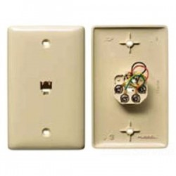 Hubbell - NS730I - NetSelect Molded-In Plate for Voice, 1 Gang, 1 RJ11 Jack, 6 Position, 4 Conductor, Screw Terminations, Ivory