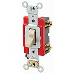 Leviton - 1221-2GL - Leviton 1221-2GL Single-Pole Locking Switch, 20A, 120/277V, Gray, Industrial Grade