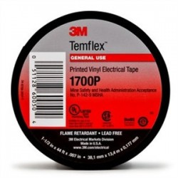 3M - 1700P-PRINTED-1-1/2X44FT - 3M 1700P-PRINTED-1-1/2X44FT Vinyl Electric Tape, 1-1/2 x 44' Long, Printed