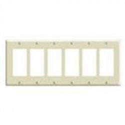 Leviton - 80326-ST - Leviton 80326-ST Screwless Decora Wallplate, 6-Gang, Polycarbonate, Light Almond