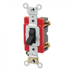 Leviton - 1221-2E - Leviton 1221-2E Single-Pole Toggle Switch, 20A, 120/277V, Black Industrial Grade
