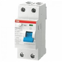 ABB - F202AC-25/0.03 - Thermal Magnetic Circuit Breaker, Residual Current, F200 Series, 277 VAC, 25 A, 2 Pole, DIN Rail