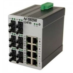 Red Lion Controls - 114FX6-ST - N-TRON 114FX6-ST Ethernet Switch, 14 Port, Unmanaged, 10-30VDC, 10/100BaseTX