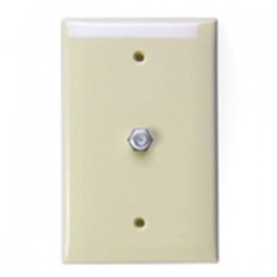 Leviton - 40539-MI - Leviton 40539-MI Wall Plate & Connector, F Coaxial, 1-Gang, Ivory