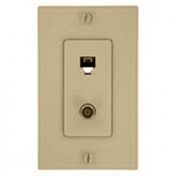 Leviton - 40159-T - Leviton 40159-T Wall Plate & Connector, F Coaxial and Telephone Jack, Light Almond