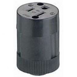 Leviton - 114 - Leviton 114 15 Amp Connector, 125 Volt, 5-15R, Rubber, Black