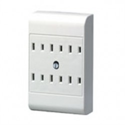 Leviton - 49687-W - Leviton 49687-W Plug-In Outlet Adapter, 6 Outlets, 15A, 120V