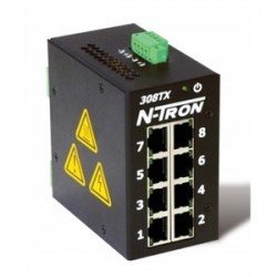 Red Lion Controls - 308TX - N-TRON 308TX Ethernet Switch, 8 Port, Unmanaged, 10-30VDC, 10/100BaseTX