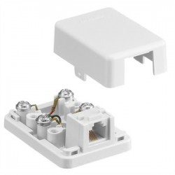 Hubbell - NS760W - NetSelect Telephone Surface Mount Jack, 6 Position, 4 Conductor, Screw Terminations, White