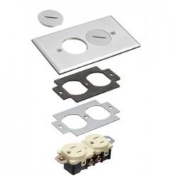 Arlington Industries - FLB5320NL - Arlington FLB5320NL Duplex Receptacle Cover With Threaded Plugs, 1-Gang, Nickel Plated