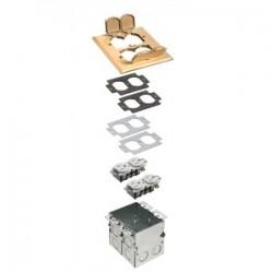 Arlington Industries - FLB5551MB - Arlington FLB5551MB Floor Box Kit with Brass Cover, 1-Gang, (2) Flip Lids, Depth: 3.725