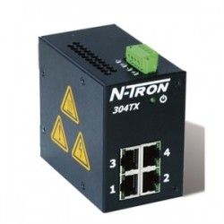 Red Lion Controls - 304TX - N-TRON 304TX Ethernet Switch, 4 Port, Unmanaged, 10-30VDC, 10/100BaseTX