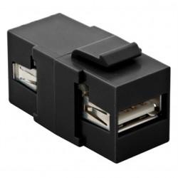 Hubbell - SFUSBAA3BK - Hubbell-Premise SFUSBAA3BK Snap-In Coupling, Keystone, USB 3.0, A-A, Pass-Thru/Female, Black