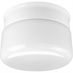 Progress Lighting - P3516-30 - Progress Lighting P3516-30 Drum Fixture, 1-Light, 60W, White