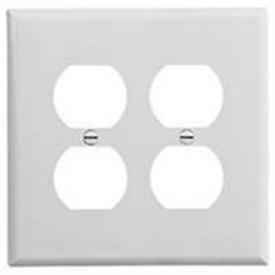 Cooper Wiring Devices - PJ82W - Cooper Wiring Devices PJ82W Duplex Wallplate, 2-Gang, Plastic, White, Midsize