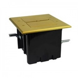 Allied Moulded - FB-5 - Allied Moulded FB-5 Floor Box Assembly, Rectangular, 2-Gang, Includes Flip Lids, Brass