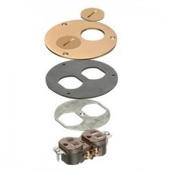 Arlington Industries - FLB3520MBTK - Arlington FLB3520MBTK 4 Round Cover & Trim Kit, Includes 15A Duplex Receptacle, Brass