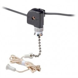 Leviton - 10097-8 - Leviton 10097-8 Appliance Pull Chain Switch, 1/3A, 125V, 1 Circuit, ON-OFF