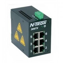 Red Lion Controls - 306-TX - N-TRON 306-TX Ethernet Switch, 6 Port, Unmanaged, 10-30VDC, 10/100BaseTX