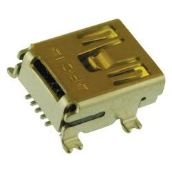 Amphenol - 10033526-N3212MLF - USB Connector, Mini USB Type B, USB 2.0, Receptacle, 5 Positions, Surface Mount, Right Angle