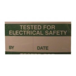 Pro Power - 7827276 - Label, Electrical Safety, Self Adhesive, 15mm x 38mm, Vinyl Cloth, Green on White, 14