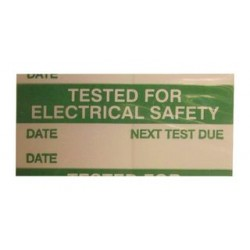 Pro Power - 7827351 - Label, Tested Electrical Safety, Self Adhesive, 15mm x 38mm, Vinyl Cloth, Green on White, 14