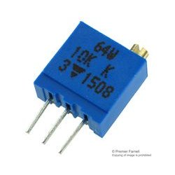 Vishay Semiconductor - 064W103 - Trimmer Potentiometer, Through Hole, 10 kohm, 500 mW, 10%, 64W Series, 25 Turns, Through Hole