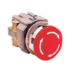 IDEC - AVD301N-R - Emergency Stop Switch, SPST-NC, Pushlock Turn Reset, Screw, 10 A, 600 V, 220 V