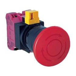 IDEC - HW1B-V4F01-R - Emergency Stop Switch, SPST-NC, Pushlock Turn Reset, Screw, 10 A, 600 V, 220 V