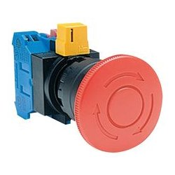 IDEC - HW1B-Y2F01-R - Emergency Stop Switch, SPST-NC, Push-Pull, Screw, 10 A, 600 V, 220 V