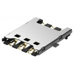 Global Connector (GCT) - SIM8050-6-0-14-01-A - Memory Socket, SIM8050 Series, Nano SIM, 6 Contacts, Phosphor Bronze, Gold Plated Contacts